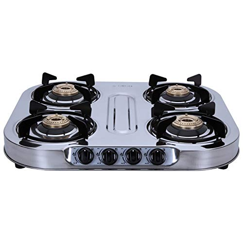 Elica 4 Burner Stainless Steel Gas Stove (INOX 604 SS) - Manual, Silver