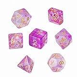 GWHOLE 7 Piezas Dados Poliédricos Dados para Juegos de rol y Mesa Dungeons y Dragons DND RPG MTG con Bolsa Negra (Transparente Violeta Claro)