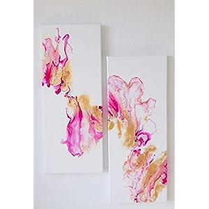 2 Bilder – Acryl Pouring I 20 x 50 x 1,9 cm/original handgemalte Einzelstücke I weiß, pink, gold I Leinwand auf…