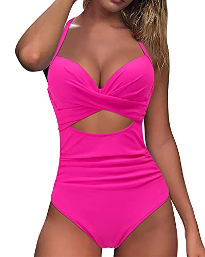 MOOSLOVER Women Sexy Cutout One Piece Swimsuits Push Up Tummy Control Monokini Bathing Suits(M,#1 Rose Red)