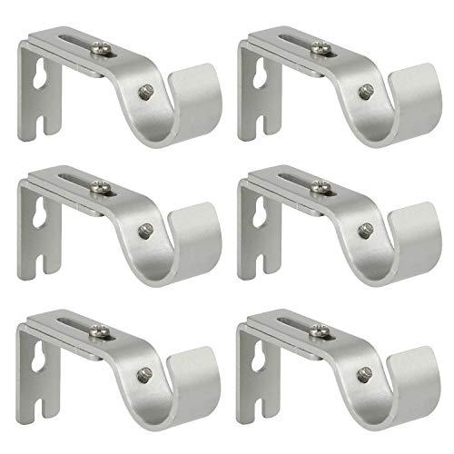 Anndason Heavy Duty Adjustable Curtain Rod Brackets Rod Holders for 1 Inch Rod, Silver Color, (Set of 6)