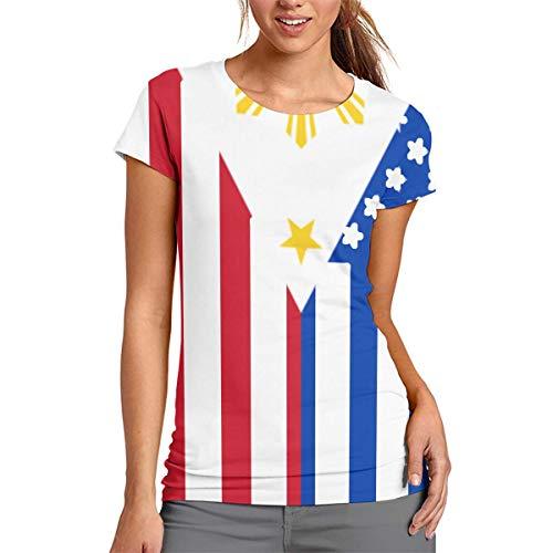 Girl American Filipino Flag Fashion 3D Creative Print T-Shirt Short Sleeve Tees White