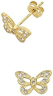 Bevilles Children's 9ct Yellow Gold Butterfly Stud Earrings