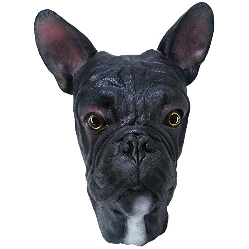 Latex Animal Dog Mask, French Bulldog Mask Animal Full Head Masks Fancy Dress Costume Black