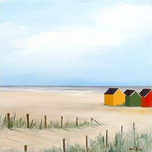 Fertig-Bild - Hans Paus: Sunny Morning VI 30 x 30 cm Strandhütten am Meer vor weitem Horizont moderne Malerei