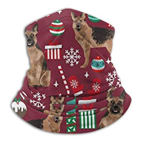 ShiHaiYunBai Tour de Cou Cagoule Microfibre Chapeaux Tube Masque Visage, German Shepherds Dogs Christmas Unisex Scarf Double Layer Neck Warmer Scarf Scarves Shawl Cowl