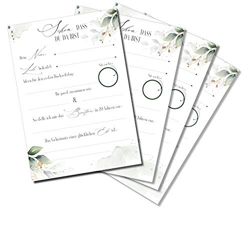 30 Stück Karten Alternatives Gästebuch Set in Grün - Gast Karten Hochzeit-Gastkarten
