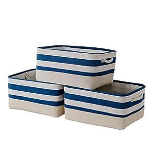 Tegance Storage Baskets Bins for Organizing, Foldable Sturdy Fabric Basket W/Handles, Large Rectangular Decorative Storage Basket for Shelves Nursery Closet Toy Blanket (3 Pack 15.7×11.8×8.3″)
