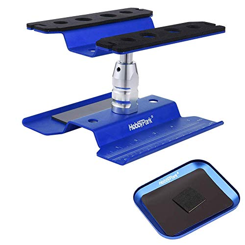 Hobbypark Aluminum RC Car Work Stand Repair Workstation 360 Degree Rotation Lift /Lower w/ Screw Tray for 1/10 1/12 1/16 Scale Car Truck Buggy (Navy Blue with Screw Tray)