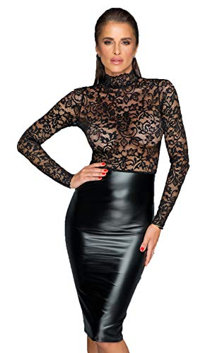 Noir Handmade Schwarzes Midi Kleid mit Spitzen Langarm Top und Wetlook Rockteil geschlitzt S