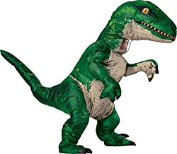 5. Rubie's Jurassic World Inflatable Velociraptor Adult Dinosaur Costume