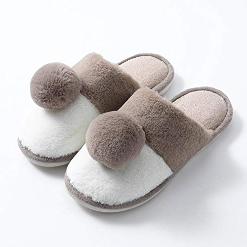 JKCTOPHOME Pantofola di Lino ,Autunno e Inverno Coppie casa morbide Pantofole di contenimento Antiscivolo Interne Calde-Brown_44-45,Spugna Sandalo