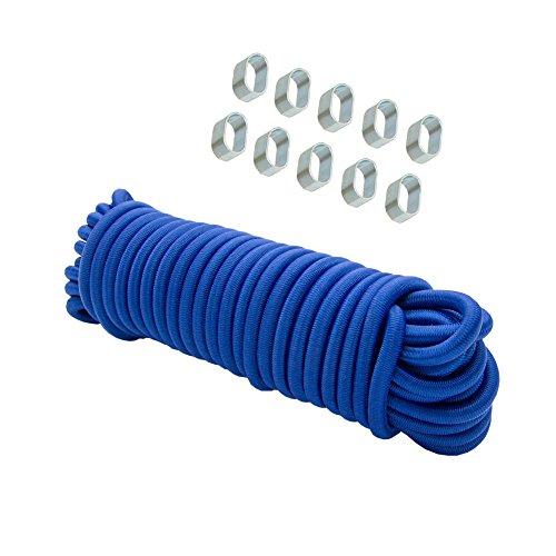 Expanderseil 8mm blau 30m + 10x Würgeklemmen Gummiseil Leine Schnur Gummischnur Seil Klemmen Plane