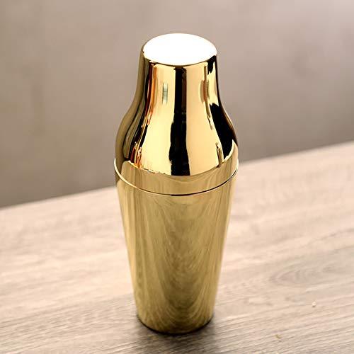 CCSUN Stainless Steel Cocktail Shaker, Martini Shaker Strainer Lid Top for Drinks Bar Home Use-Golden 650ml
