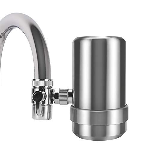 YJHome Wasserfilter Wasserhahn, Edelstahl 304 Trinkwasserfilter | Wasserhahnfilter für mit Filterkartuschen | Gesunder Prämie Wasser Filtersystem Küchenzubehör