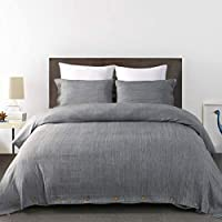 KINBEDY 3 Piece Simulated Linen Soft Breathable Lightweight Solid Color Bedding Duvet Covers with Button Closure