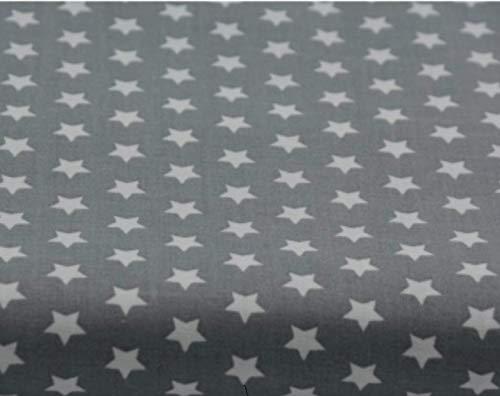 Amazinggirl Baumwollstoff Sterne Meterware Stoff aus 100% Baumwolle 1,6 m x 2 m - Stoffe zum Nähen Nähstoffe Uni Baumwollstoffe Öko-Tex Standard 100 grau mit weißen Sternen