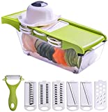 Cortador de verduras Cortador de Dicer Pelador Rallador de queso – Manual 6 cuchillas Picador de alimentos de verduras...