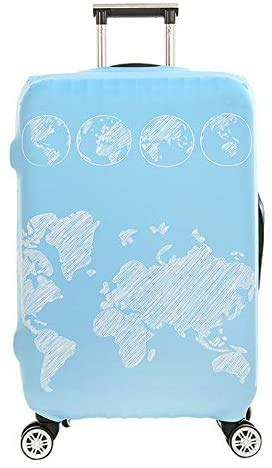 Suitcase Cover Map Pattern Travel Luggage Cover Suitcase Protector Fits for 26-28 Inch Luggage (L) Luggage Trolley Case Protective Cover