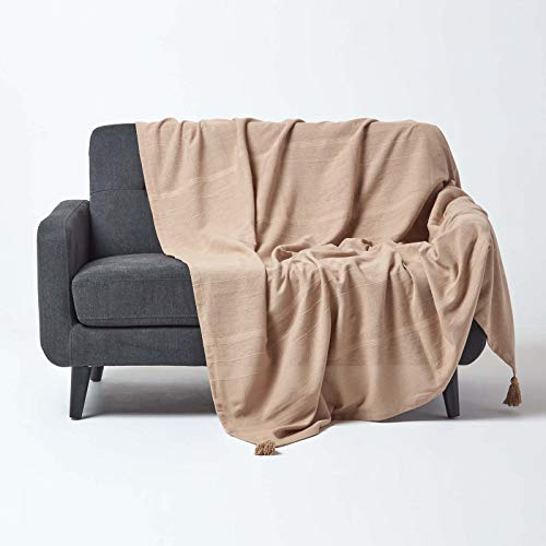 Homescapes Tagesdecke Rajput, beige, Wohndecke aus 100% Baumwolle, 150 x 200 cm, Sofaüberwurf/Couchüberwurf in RIPP-Optik