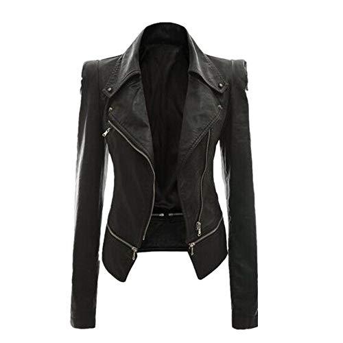 N\P Mujeres otoño zipeer chaqueta de cuero suave abrigo de vuelta cuello casual motocicleta negro punk ropa exterior