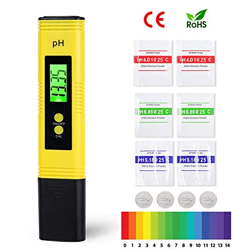 Herefun PH Messgerät, PH Meter Messgerät mit LCD Anzeige ATC Wasserqualität Tester Digitales pH Messgerät für Trinkwasser, Lebensmittel, Schwimmbäder und andere