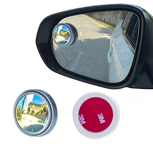 LivTee 2PCS Round Blind Spot Mirror, HD Glass and ABS Housing Convex Wide Angle Rearview Mirror with Adjustable Stick for Universal Car, White