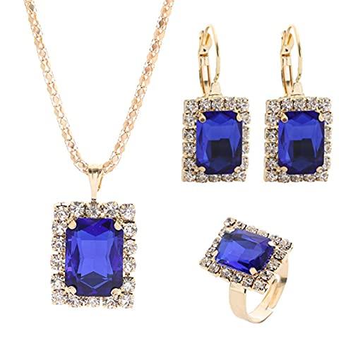 SMEJS rojo verde azul blanco negro cristal cuadrado chapado en oro colgante collar + pendiente + conjunto de anillos, para mujeres niñas