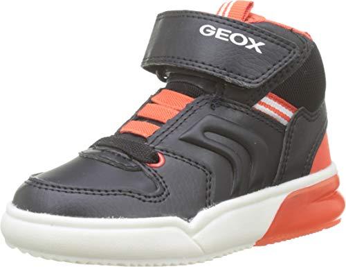 Geox Jungen J GRAYJAY Boy C Hohe Sneaker, Schwarz (Black/Dk Orange C9279), 30 EU