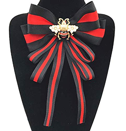 Fashion Red Ribbon Big Bowknot Brooch Pins 2018 For Woman Rhinestones Crystal Tie Collar Jewelry Accessories (Black)