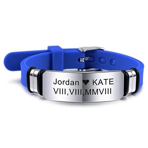 MeMeDIY 13mm Large Bracelet Silicone Réglable Sport Nom Poignet ID Tag Identification Bracelet Personnalisé pour Hommes Femmes Enfants en Acier Inoxydable - Gravure Personnalisée (Bleu Couleur)