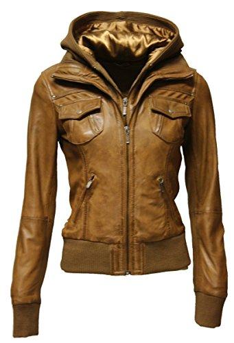 Zimmert Ledermoden Damen Übergangsjacke Leder-Jacke MIt Kapuze FIBI Slim-Fit (38, Washed Cognac)