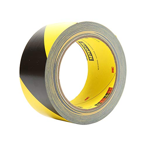 "3M Striped Vinyl Safety Tape 5702 - High Visibility Caution Tape for Lane and Floor Marking - 3"" x 36 yards, 5.4 Mil, 12 Rolls/Case - Black and Yellow"