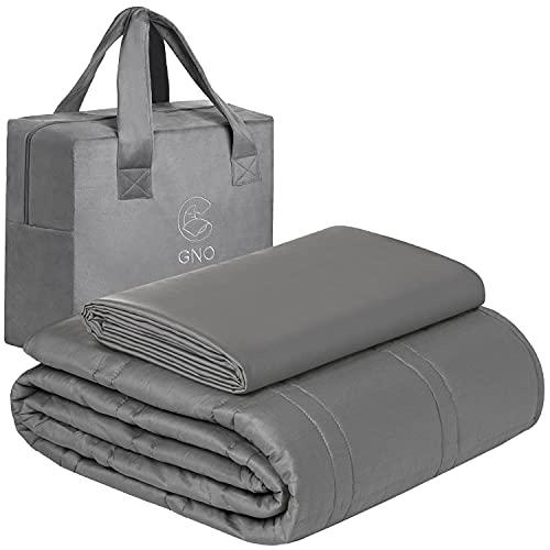GnO Weighted Blanket -Manta Pesada para Adultos y Cubierta de Bambú 100% Orgánica - 9KG | 152x203 cm -Manta Ponderada para Ansiedad, Insomnio o Estrés -Manta con Micro Perlas de Vidrio-Gris
