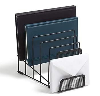 1InTheOffice Metal Incline Desktop File Sorter Black Wire Mesh Step Sorter