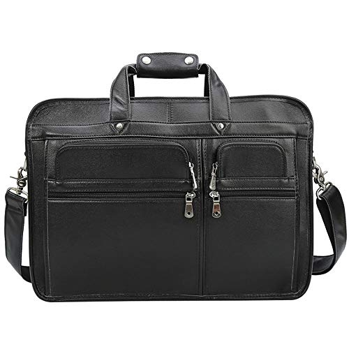 QinWenYan Aktetas Heren Lederen Laptop Tas CaseSatchel Embodiment Contact Handtassen Multifuntionele 18-inch Zakelijke Laptop Tablet Mannelijke En Vrouwelijke Tri-color Grote One-shoulder Zakelijke Kantoortas