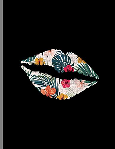 Kiss Mark Lips Floral Beach Summer Lipstick: Friendly Kisses Love And Romance Wide Ruled Lined Notebook - 120 Pages 8.5x11 Composition