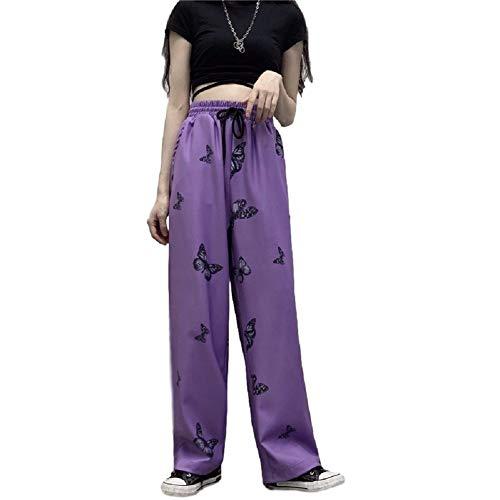 WBNCUAP Alta Cintura Floja del Basculador de Hip Hop de la Mariposa de Las Bragas Unisex Coreana de Calle Harajuku Entrenamiento del Deporte de Pista (Color : Purple, Size : Large)
