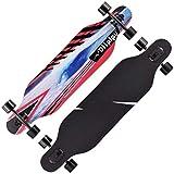 Woodtree Freestyle Longboard monopatín Completo 41 x 9,5 Pulgadas de Arce ABEC-11 Alta velicidad RODAMIENTOS for Adultos Principiantes de Crucero/Descenso/Baile/Gota de Hipoteca, Color: E (Color : E)