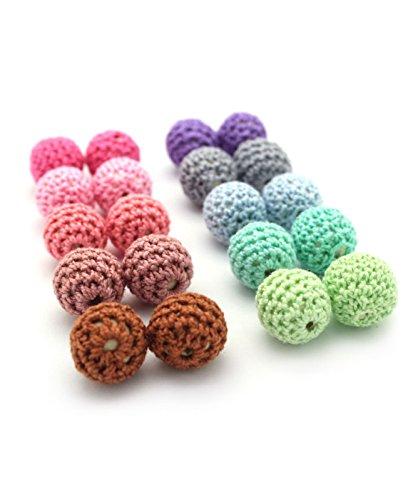Ruby-Lote 20 bolas Crochet bola mordedor silicona para realizar collar, chupetero, color surtido. Silicona orgánica 100% apto para bebe, sin BPA (Crochet)