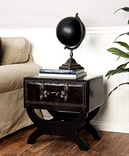 Deco 79 Traditional Wood and Leather Square End Table, 22' H x 22' L, Textured Dark Brown Finish
