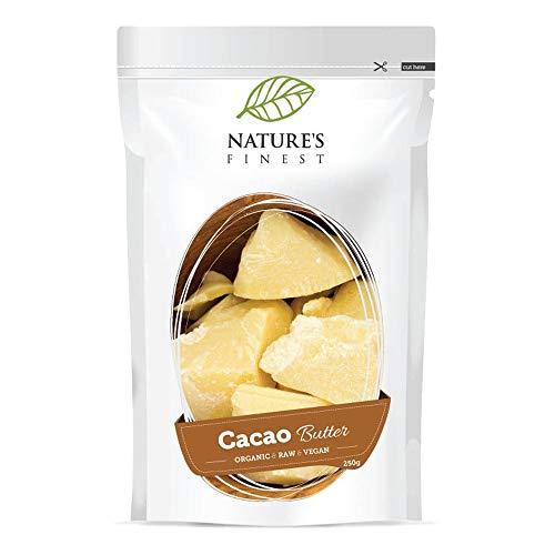 Nature's Finest Burro di Cacao Bio 250 g   Superfood Biologico, Puro e Naturale   Altro Contenuto di Vitamina E   Ideale per Dieta Paleo, Vegana e Vegetariana