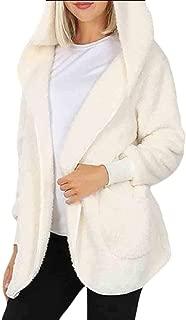 Womens Hooded Faux Fuzzy Shearling Fleece Open Front Warm Oversized Jackets Coat with Pocket