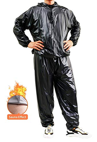 GOLD XIONG PADISHAH Heavy Duty Sweat Sauna Suits Exercise Gym Suit Full Body Anti-Rip Sweat Suits PVC Weight Loss Sauna Suit for Men Women | Windproof,Waterproof(Size XL,Black)