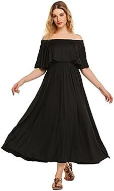 Zeagoo Women's Off Shoulder Ruffle A-line Swing Long Maxi Dress High Waist Cocktail Party Dresses