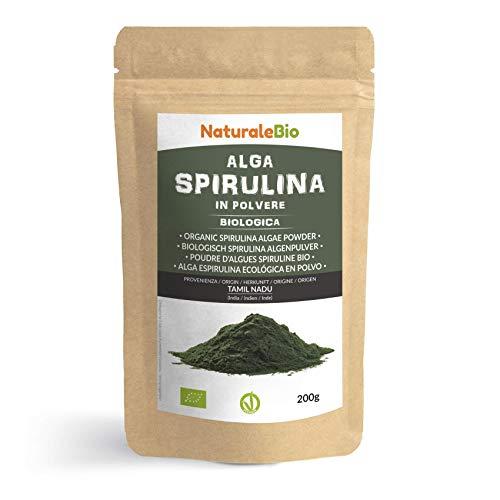 Alga Espirulina Ecológica En Polvo 200g. 100% Orgánica, Natural y Pura, Cultivada en India en Tamil Nadu. Ideal en bebidas y batidos, o recetas. Apto para vegetarianos y veganos. NATURALEBIO