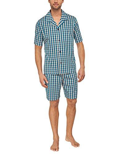 Seidensticker Herren Pyjama Kurz Zweiteiliger Schlafanzug, Blau (türkis 807), Small (Herstellergröße: 48)