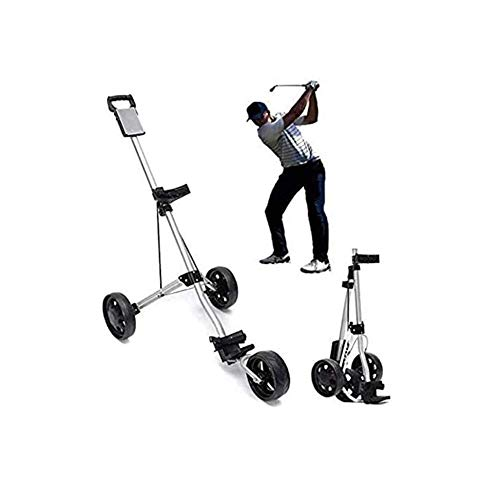 BIYLL 3-Rad Golftrolley, Golfwagen Golf klappbar, Schiebewagen verstellbar, Golf Push Cart aus Aluminum, Golfcaddy mit Schirmhalter und T-Stückhalterung, schwarz.ABS.