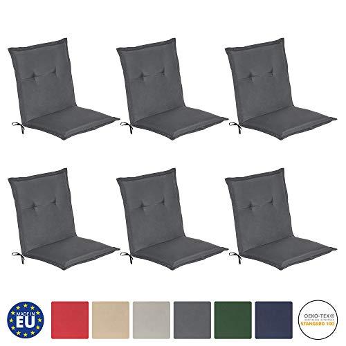 Beautissu Loft NL - Set de 6 Cojines para sillas de balcón o Asiento Exterior con Respaldo Bajo - 100x50x6 cm - Placas compactas de gomaespuma - Gris Grafito