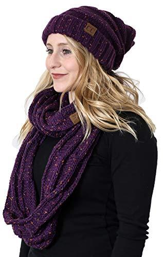 Oversized Beanie Hat Matching Scarf Set Bundle - Purple Confetti